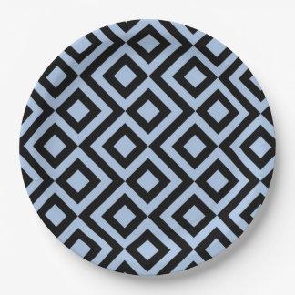 Light Blue and Black Meander Paper Plate