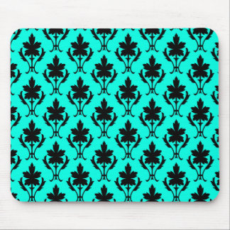 Light Blue And Black Ornate Wallpaper Pattern Mouse Pad