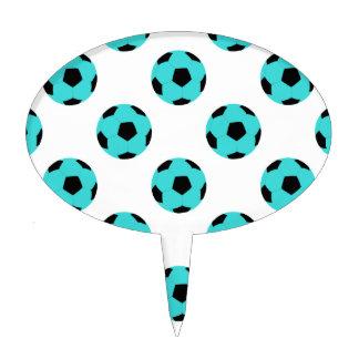 Light Blue and Black Soccer Ball Pattern Cake Topper