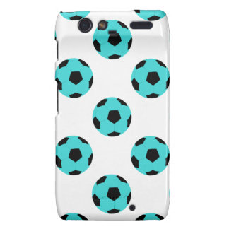 Light Blue and Black Soccer Ball Pattern Motorola Droid RAZR Covers
