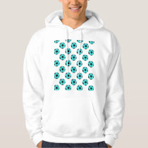 Light Blue and Black Soccer Ball Pattern Hoodie