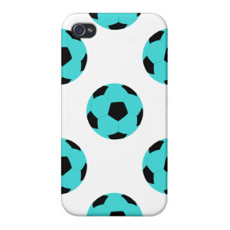 Light Blue and Black Soccer Ball Pattern Case For iPhone 4