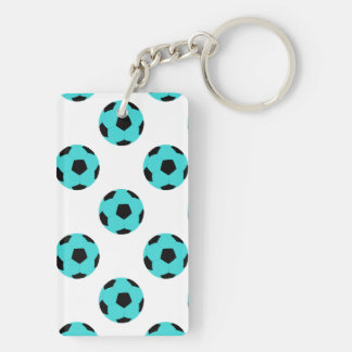 Light Blue and Black Soccer Ball Pattern Keychain