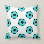 Light Blue and Black Soccer Ball Pattern Pillows
