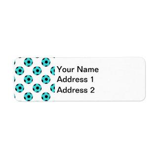 Light Blue and Black Soccer Ball Pattern Return Address Label