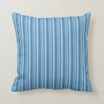 [ Thumbnail: Light Blue and Blue Pattern of Stripes Pillow ]