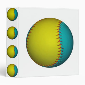 Light Blue and Bright Yellow Softball 3 Ring Binder
