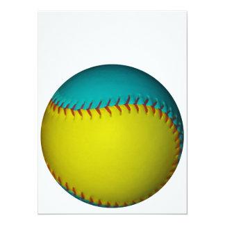 Light Blue and Bright Yellow Softball Card