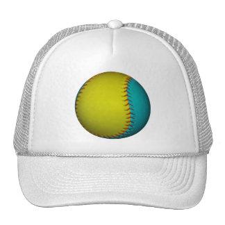Light Blue and Bright Yellow Softball Hats