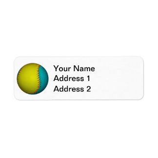 Light Blue and Bright Yellow Softball Label
