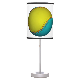 Light Blue and Bright Yellow Softball Lamp