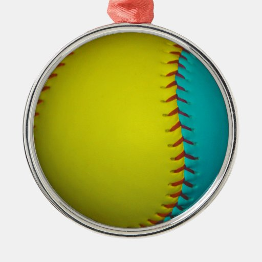 Light Blue and Bright Yellow Softball Round Metal Christmas Ornament