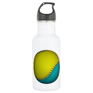 Light Blue and Bright Yellow Softball Stainless Steel Water Bottle