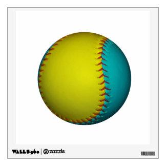 Light Blue and Bright Yellow Softball Wall Sticker