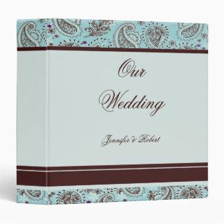 Light Blue and Brown Paisley Wedding Album 3 Ring Binder