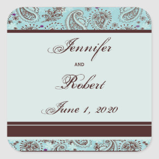 Light Blue and Brown Paisley Wedding Envelope Seal Sticker