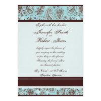 Light Blue and Brown Paisley Wedding Invitation