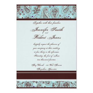 Light Blue and Brown Paisley Wedding Invitation
