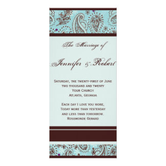 Light Blue and Brown Paisley Wedding Program