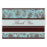 Light Blue and Brown Paisley Wedding Thank You Card