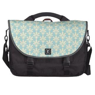Light Blue and Cream Floral Damask Pattern Laptop Computer Bag