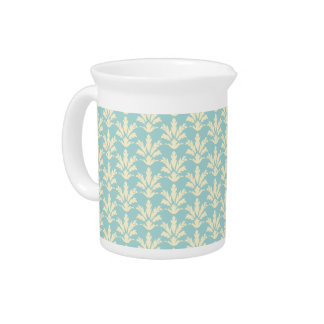 Light Blue and Cream Floral Damask Pattern Pitcher