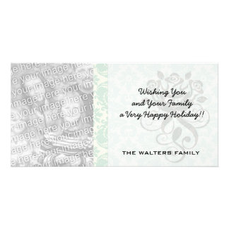 light blue and cream lovely damask photo card