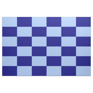 Light Blue and Dark Blue Checkered Rectangles Fabric