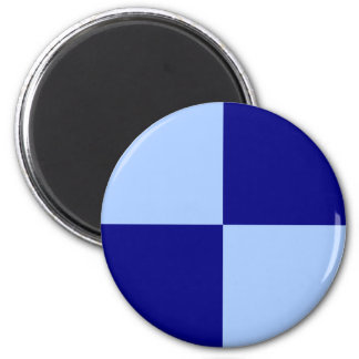 Light Blue and Dark Blue Rectangles 2 Inch Round Magnet