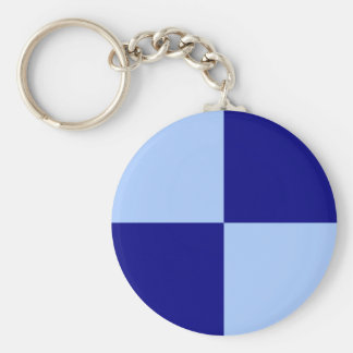Light Blue and Dark Blue Rectangles Basic Round Button Keychain