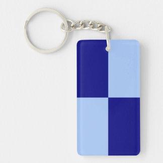 Light Blue and Dark Blue Rectangles Double-Sided Rectangular Acrylic Keychain