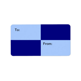 Light Blue and Dark Blue Rectangles gift tag Address Label