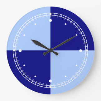 Light Blue and Dark Blue Rectangles Large Clock