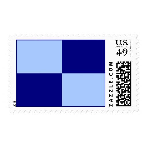 Light Blue and Dark Blue Rectangles – Medium Postage Stamp