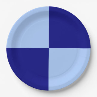 Light Blue and Dark Blue Rectangles 9 Inch Paper Plate