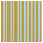 [ Thumbnail: Light Blue and Dark Goldenrod Colored Stripes Fabric ]