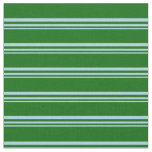 [ Thumbnail: Light Blue and Dark Green Lined/Striped Pattern Fabric ]