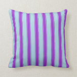 [ Thumbnail: Light Blue and Dark Orchid Pattern Throw Pillow ]