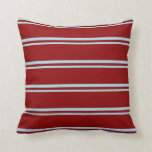 [ Thumbnail: Light Blue and Dark Red Pattern of Stripes Pillow ]