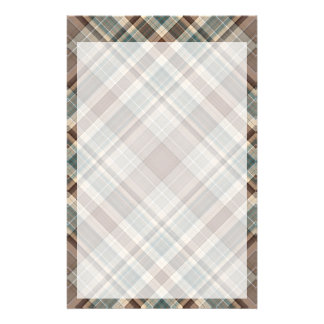 Light blue and fawn plaid stationery