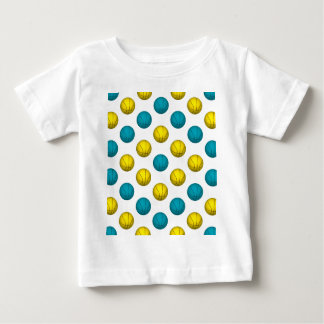 Light Blue and Gold Basketball Pattern Baby T-Shirt
