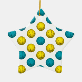 Light Blue and Gold Basketball Pattern Ceramic Ornament