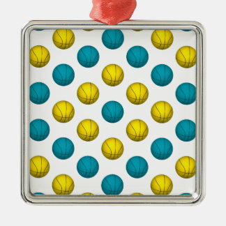 Light Blue and Gold Basketball Pattern Metal Ornament