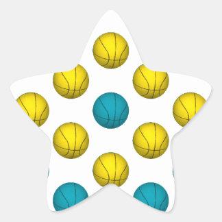 Light Blue and Gold Basketball Pattern Star Sticker