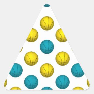 Light Blue and Gold Basketball Pattern Triangle Sticker