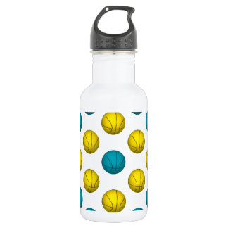 Light Blue and Gold Basketball Pattern Water Bottle