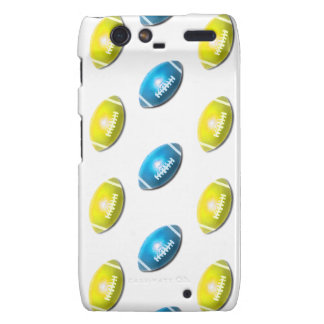 Light Blue and Gold Football Pattern Motorola Droid RAZR Cover