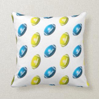 Light Blue and Gold Football Pattern Pillows