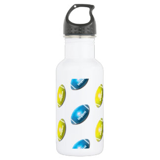 Light Blue and Gold Football Pattern Stainless Steel Water Bottle