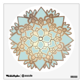 Light Blue and Gold Lotus Flower Wall Decal